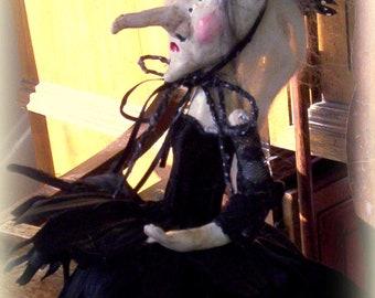 Esmeralda A OoAK Primitive Halloween Folk Art Witch Doll
