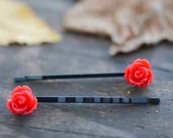 Cherry Rose Bobby Pins (2pk)
