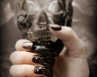 """Gothic Fake Nails, """"Corvid,"""" Nail Art, Goth Nail Art, Short Fake Nails, Japanese Nail Art, False Nails, Press On Nails, Acrylic Nails"""