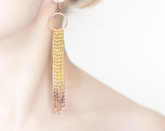 Long Ombre Chain Earrings Gold Chain Fringe Tribal Boho Glam copper gold modern jewelry