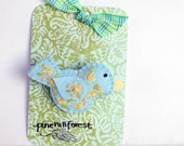 Handmade Felt Little Blue Bird Brooch or Pin with Flower Embroidered Embellishments