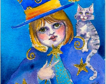 Cat painting, Folk art, Wizard, original painting, watercolor painting, Gold leaf, childs room decor, folk art cat,