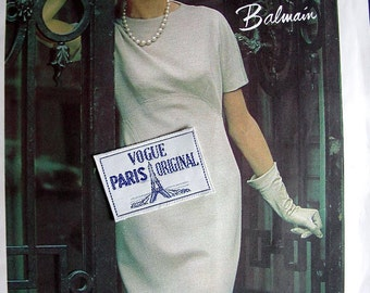 FF  VOGUE Paris Original Sewing Pattern 1327 by Pierre Balmain // ELEGANT Dress with High Curved Waistline & Vogue Label - Size 12, Bust 32