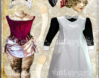 Vintage Tattoo Victorian Art Paper Doll Collage Sheet  'Lydia, Oh Lydia' digital download