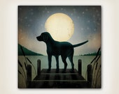 Custom Moonrise Dock Dog  Stretched Canvas Wall Art Signed Ready to Hang