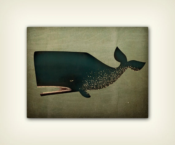 The Barnacle Whale illustration on CANVAS panel  signed