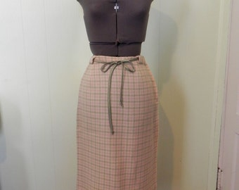 Vintage 50s Pencil Skirt Rockabilly / 1950s Green and Pink Check Wiggle Pencil Skirt S - on sale