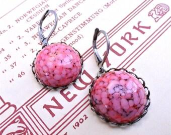 Milan Earrings Rose Pink Vintage Marble Cabochon Cab Earrings