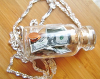 Tip Jar Necklace  - Money in a Bottle - Green Label - Sterling Silver Chain - Waiter, Bartender, Barista