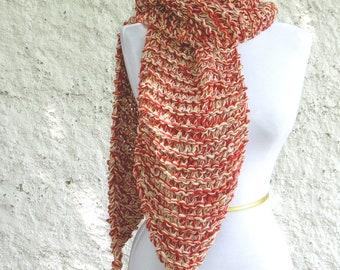Red Cotton Scarf - Caramel Apple Handknit Cotton Scarf