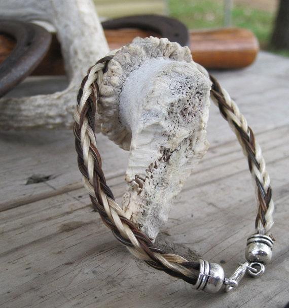 Cruelty Free Hairwork Braided Horsehair Bracelet - Flaxen Chestnut/Liver Chestnut Horse Hair