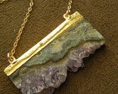 Cascading Amethyst Stalactite Slice and Gold Fill Druzy Double Bail Necklace