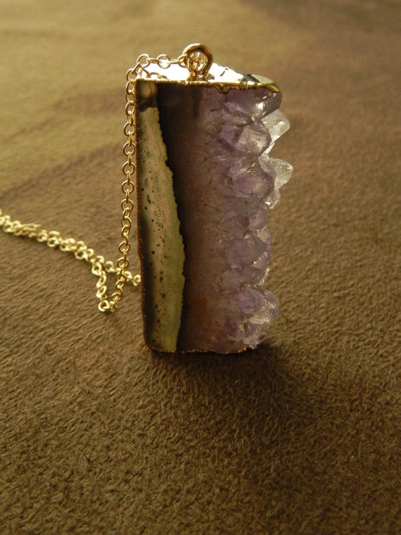 Amethyst Stalactite Slice Pendant and Gold Fill Chain Necklace 14kt Dark and Light