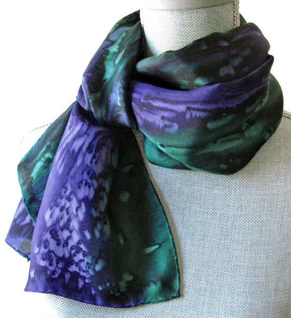 Hand Dyed Silk Scarf in Navy and Dark Green