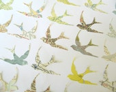 Vintage Map and Atlas Die Cuts - Swallows - Bird Die Cut - Paper Bird - Old Map - Die Cut Bird Shape - Map Paper