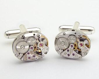 Steampunk Cufflinks Certina Watch Movements ideal Wedding Anniversary Grooms Gift, Formal Wear, Silver Vintage Mens Cufflinks, Jewelry 2901