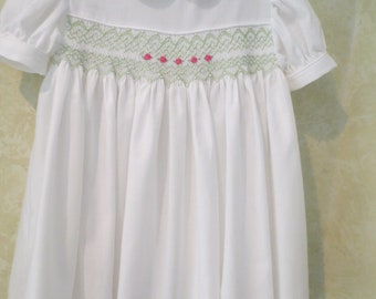 Children's size 2 winter smocked dress - Swiss flannel handsmocked dress in white with green geometric smocking and pearls