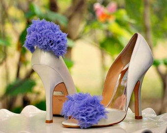 Lavender Ruffles Shoe Clips. Couture Bridal Bride Bridesmaid Delicate, Summer Wedding, More blue black golden white ivory champagne teal red