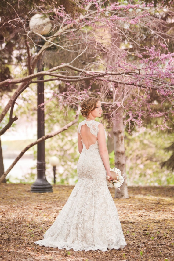 Keyhole Open Back Lace Wedding Dress By Bridalblissdesigns On Etsy