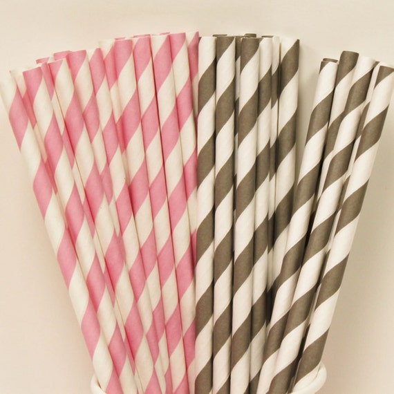 Pink Striped Paper Straws Paper Straws 25 Pink And Grey