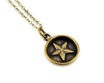 Modern Star Pendant, Wax Seal Star Necklace, Wax Seal Jewelry Star Necklace Pendant,   Gwen Delicious Jewelry Designs