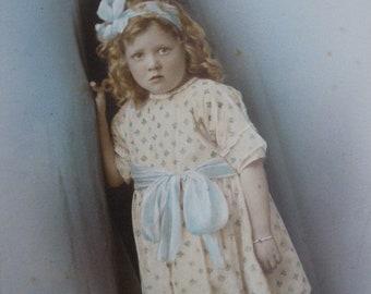Antique studio photograph - vintage color photo 1920s 1930s portrait of little Welsh girl in pretty dress 20s 30s hand tinted colour costume