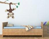 Monkey Wall Decal - Monkey on a Branch Vinyl Wall Art - Children Wall Decals