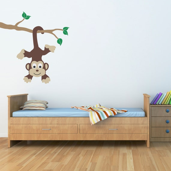 monkey wall decal monkey on a branch vinyl wall art children wall