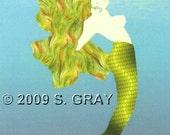 ACEO Mermaid digital art print fantasy ocean green limited edition nitelvr