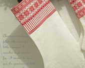 Large Nordic Linen Christmas Stocking - CherieWheeler