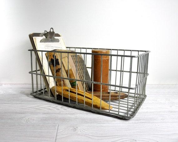 Vintage Stackable Metal Dairy Basket / Wire Basket / Industrial Storage