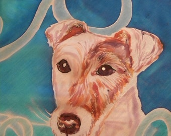 Dog portrait painted on silk made to order. The portrait of your dog hand painted by an artist from your photos on pure silk
