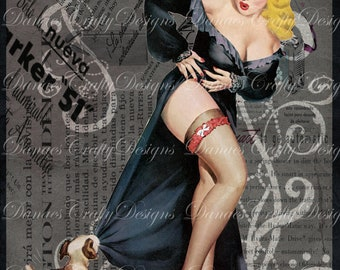 Pin Up Puppy Love - Vintage Pin Up Girl on Charcoal Collaged Background - PU204 - Digital Download - Buy 2 Get 1