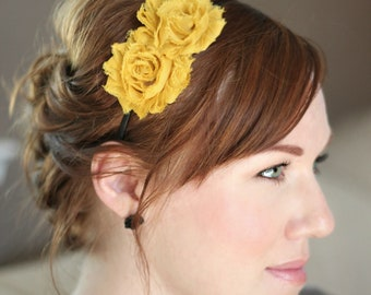 Mustard Flower Headband, Adult Shabby Chic Headband for Girls and Women