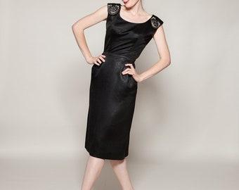 Vintage 1950s Kramer Dress Black Satin LBD Beaded Cocktail Fashions