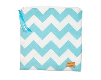 Sandwich Size Reusable  Bag - Aqua Chevron Stripe - Zippered Bag - Zipper Closure