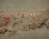 Bridal Garter Wedding Garter Pink Beaded Lace with Elastic Lace and Satin Ribbon