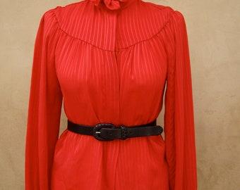 Vintage 70s Cherry Red Ruffle Secretary Blouse SMALL/MEDIUM