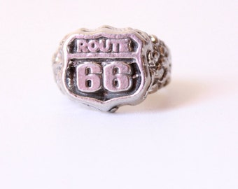 Vintage Route 66 Ring, vintage ring, mens ring, men jewelry, fathers day gifts, Gifts for Guys 'Dean'