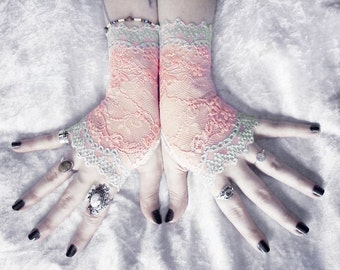 Namid Lace Fingerless Gloves   Peach Pink Floral Mint Green Blue   Wedding Victorian Bridal Rustic Regency Gothic Belly Dance Noir Austen