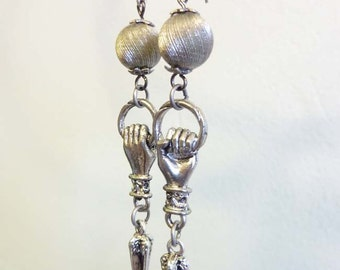 Silver Hand Earrings, Vintage Silver Spikes, Vintage Swirl Beads, Hand Amulet, Resistance and Unity Earrings