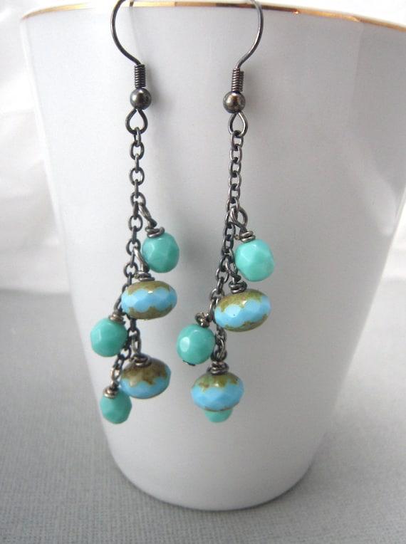items similar to light blue earrings very long earrings