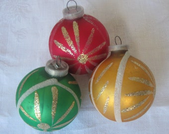 3 Mid Century Starburst Vintage Glass Christmas Ornaments, West Germany, Gold Glitter, D.B.G.M.a