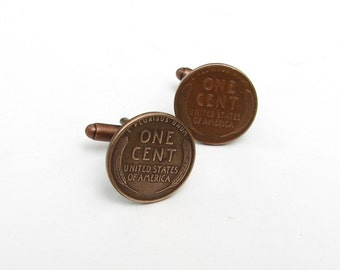 lucky penny cuff links - copper wheat penny cufflinks - great for 7th wedding anniversary