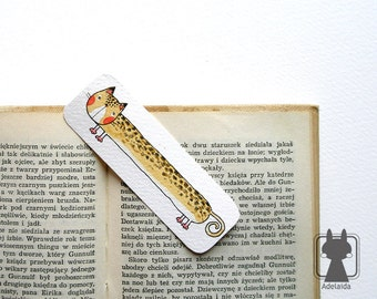 Catmark - cute bookmark with a wild cat - two-sided, hand painted, watercolor
