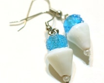 Blue Snowcone Glass Lampwork Bead Earrings - Fun Kids Jewelry - Beaded Earrings - HANDMADE BY ME - Christmas Sale