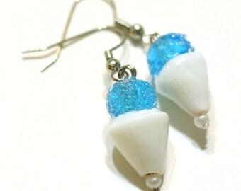 Blue Snowcone Glass Lampwork Bead Earrings - Fun Kids Jewelry - Beaded Earrings - HANDMADE BY ME - Christmas Sale