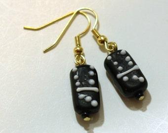 Black Domino Earrings made from Lampwork Glass Beads Earrings - Womens Jewelry - Game Night Charm Earrings - Cyber Monday Sale