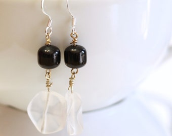 Frosting Earrings - Black and White Glass Bead Handmade Elegant Dangle Earrings - womens jewelry - simple and classy - 925 sterling silver