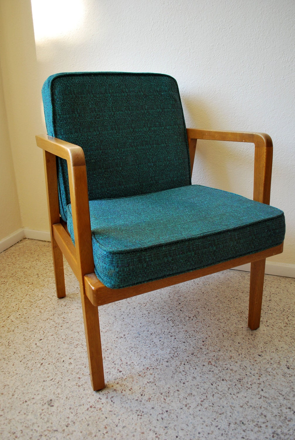Mid century modern teal lounge chair